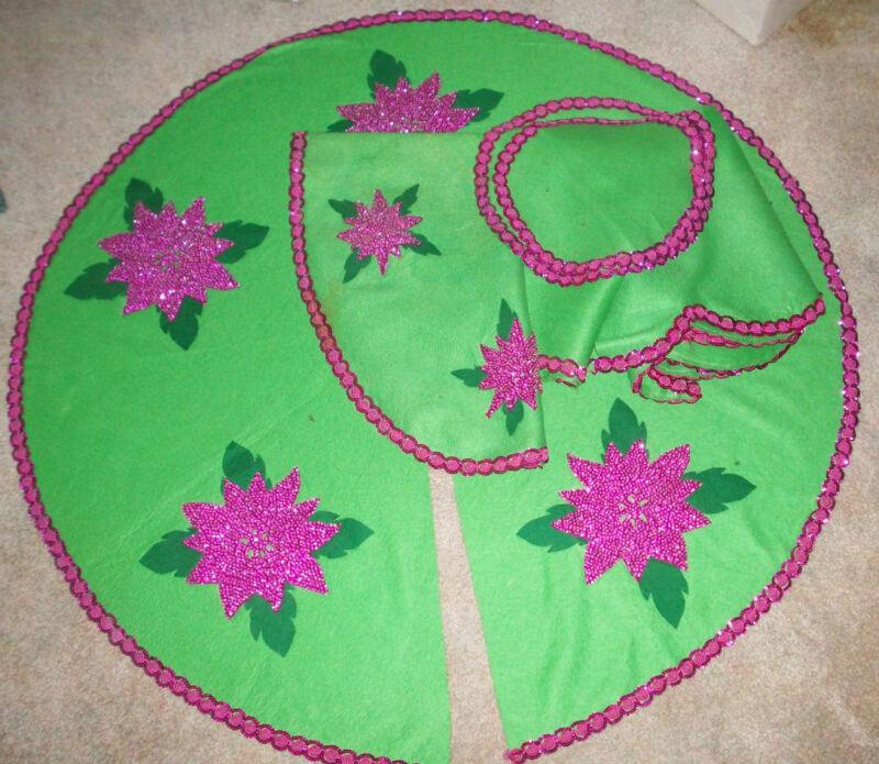 Handmade felt bead sequin Fushia Poinsettia vintage Tree skirt & table toppers