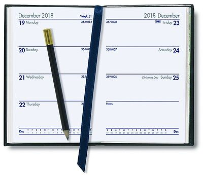 Collins 2018 Diary Business Pocket Regal Week-To-View With Pencil Black