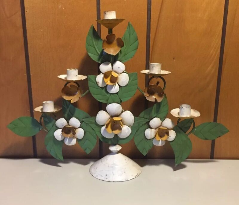 """Vintage Italian Toleware Painted Metal Floral 5 Candle Holder 12.5"""" Tall"""
