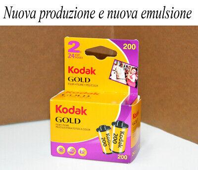 Pellicola doppia 35mm Rullino fotografico Colore Kodak Gold 200 asa 24 foto film