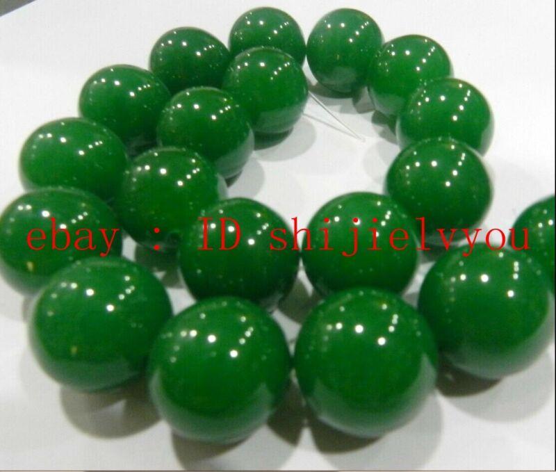 "20MM Green Emerald Round Gemstone Loose Bead 15"""