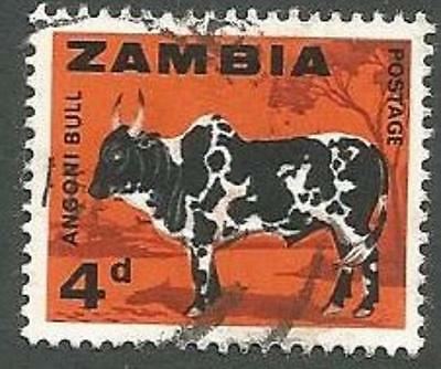 Zambia Scott# 8, Angoni Bull, 4p, Orange & Black, Used, 1964