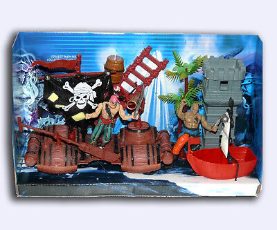 Pirate Figures With Parrot Ship Boat Ladder Lookout Tower Tree & More Toys