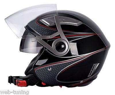 CASCO BHR JET 709 DOUBLE COMB NERO DOPPIA VISIERA xs S M L XL  no casco scodella
