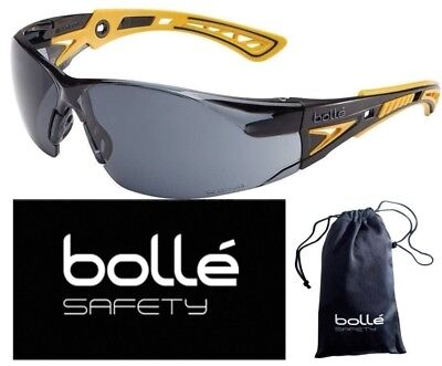 Bolle 40244 Rush+ Safety Glasses, Black/Yellow Frame, Smoke Anti-fog Lens
