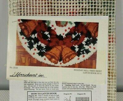 Vintage Herrschners Christmas Holiday Bell Tree Skirt Latch Hook Kit