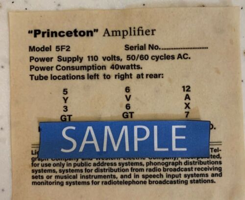 Vintage Tweed Princeton Amplifier 5F2 Replacement Tube Chart