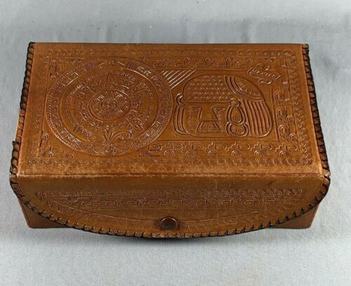 Vtg Hand Tooled Leather Jewelry Trinket Box Mayan Mexico