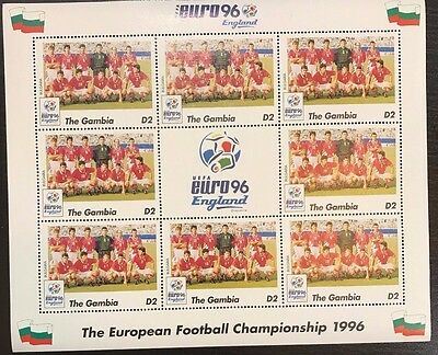 Gambia Euro '96 England Football Championship Stamp- Bulgaria Sheetlet of 9