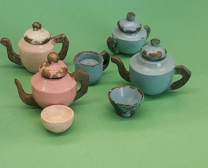 Vintage Antique Miniature Dollhouse painted Wooden Treenware Teapot Lot
