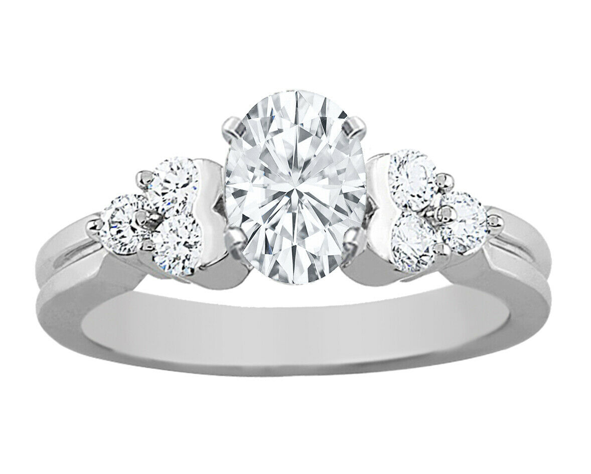 GIA Certified Diamond Engagement Ring 1.42 CT Oval Shape & Round Shape 14k Gold