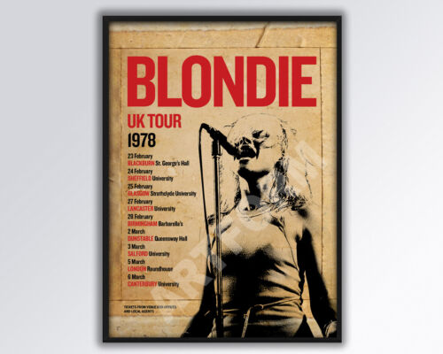 BLONDIE DEBBIE HARRY reimagined 1978 UK Tour Poster A3 size.