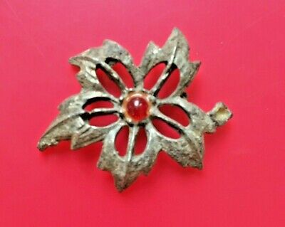 Art Nouveau Lapel Pin Oxidized Leaves Autumn Delight Silver Floral Filigree Brooch Fall Jewelry Victorian Revival
