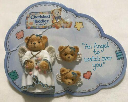 Vintage 1996 Cherished Teddies Angel Brooch/Pin Pierced Earring Set  by Enesco