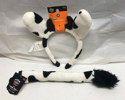 Halloween Cow Ears (Hyde And Eek Kids Cow Ear Headband And Kids Cow Clip On Tail Halloween)