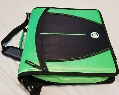 Case-it Mighty Zip Tab 3-inch 3 Ring Zipper Binder Green With Carrying Strap