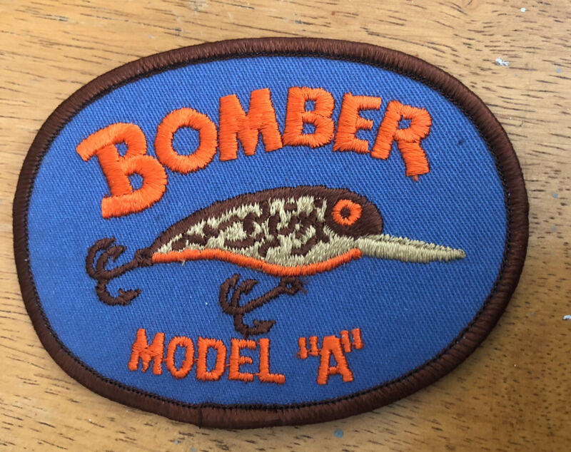 """VINTAGE """"BOMBER MODEL A"""" FISHING PATCH NEW NEVER USED 4.5"""" x 3"""""""