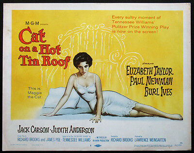 CAT ON A HOT TIN ROOF ELIZABETH TAYLOR TENNESSEE WILLIAMS 1958 TITLE CARD