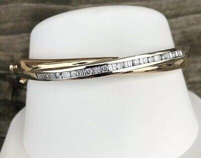 14K GOLD 1CT ROUND & BAGUETTE DIAMOND BANGLE BRACELET Baguette Diamond Bangle Bracelet