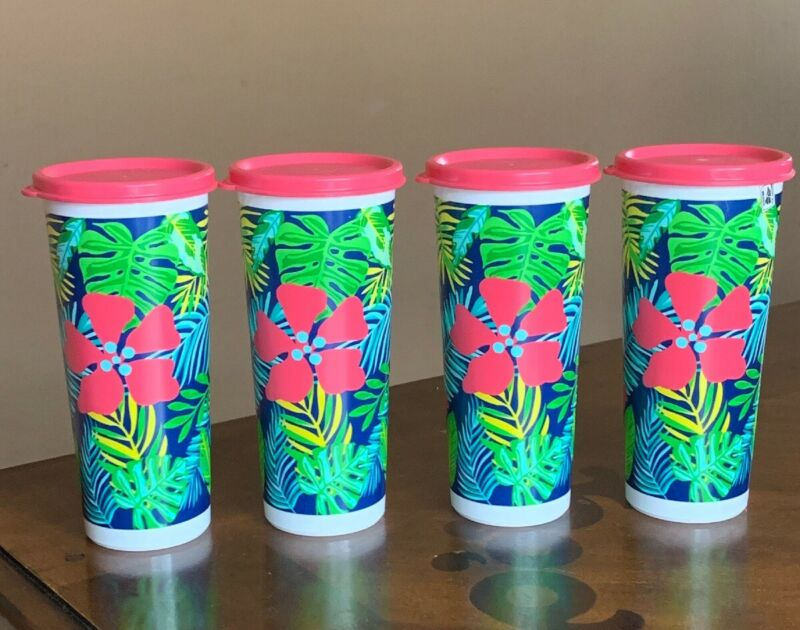 TUPPERWARE TROPICAL DESIGN TUMBLERS SET WITH LIDS !!!!!