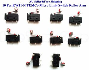 10 Pcs KW11-N TEMCo Micro Limit Switch Roller Arm Subminiature SPDT Snap Action