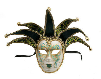 Mask from Venice Volto Jolly Green Golden 7 Spikes for Prom Mask 1423 VG2