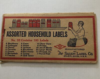 Vintage canning labels circa 1930. Salem Label Co & Brush Household of Salem Ohi