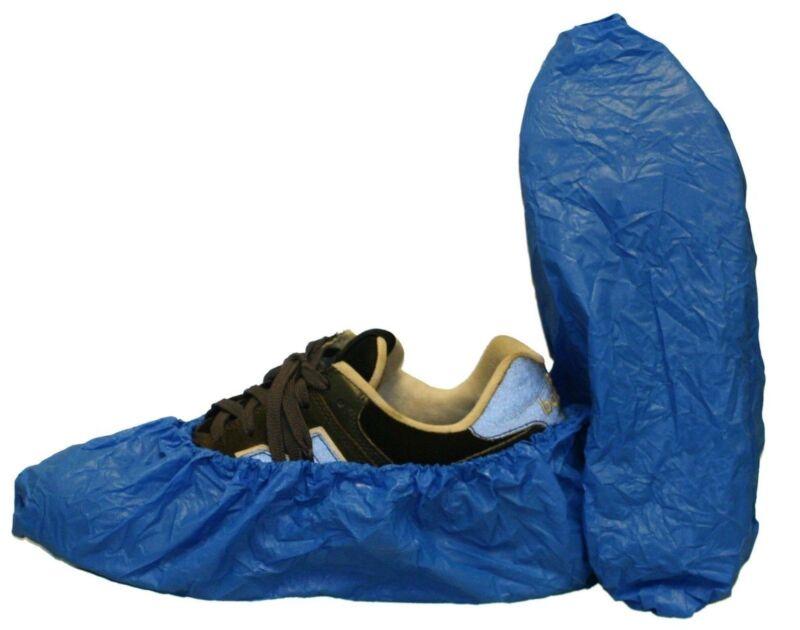 Carpet Clean, HVAC Disposable Blue Polyethylene Shoe Covers Size Large 100/Bag