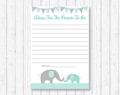 Mommy Advice Cards (Mint Green & Grey Chevron Elephant Printable Baby Shower Mommy Advice)