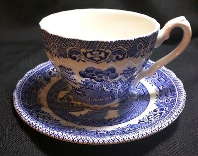 Myott Meakin Tonquin Blue China Cup And Saucer