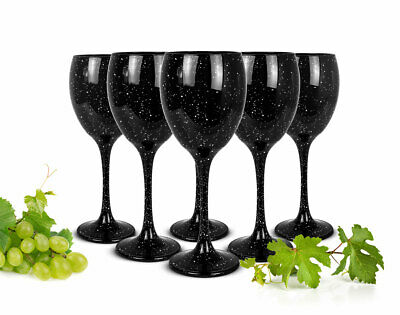 6 Weingläser 300ml Schwarze Rotweingläser Weißweingläser Weinkelch Getupft