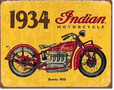 Indian Motorcycles 1934 Series 402 Metal Sign Tin New Vintage Style USA #1929
