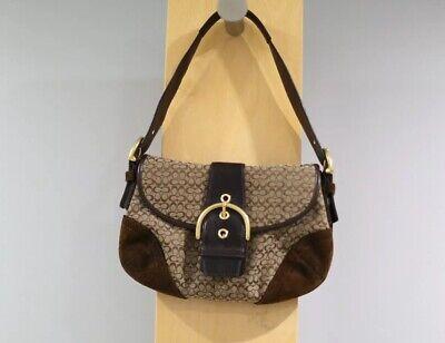 Coach Signature Soho Handbag Purse Brown Suede Leather