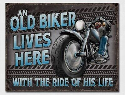 Old Biker Metal Tin Sign Home Motorcycle Garage Shop Wall Hot Rod Decor #2236