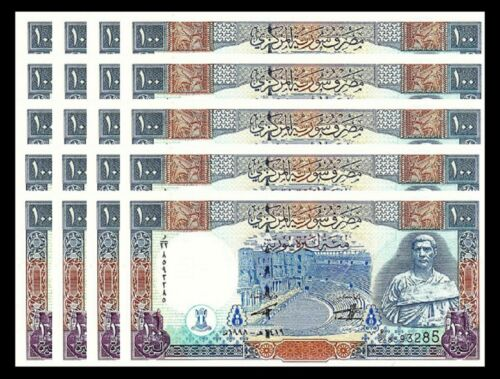 SYRIA 100 POUNDS 1998 UNC CONSECUTIVE 20 PCS LOT P-108