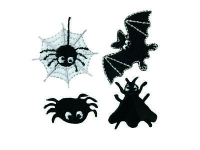 10063 Halloween Flicken 4er Set, Applikation Aufbügeln Spinne Fledermaus Fliege