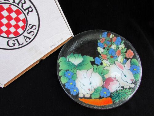 "PEGGY KARR Easter Bunny Rabbits Fused Art Glass Serving Platter 13.5"" Spring"
