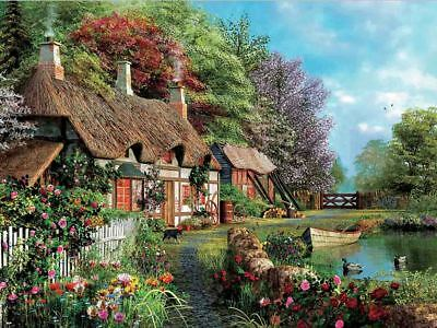 Thatched Roof Cottage - Country Scene - 3D Lenticular Poster --12x16 Print