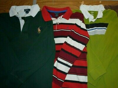 LOTS OF 3 POLO Long Sleeve Collared Shirts BOYS Sz Large RL GMB Nautica