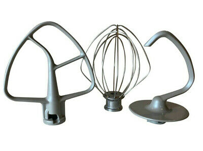 Kitchenaid Grey Coated Flat Beater, Dough Hook And Wire Whisk Fits 4.5QT Artisan