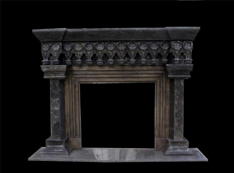 BEAUTIFUL HAND CARVED GOTHIC BRONZE AND MARBLE ESTATE FIREPLACE MANTEL - FP3125
