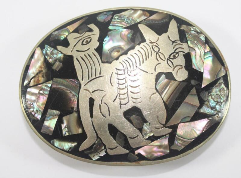 Vintage Alpaca Mexico Silver and Abalone Inlay Belt Buckle ~ Man and Horse
