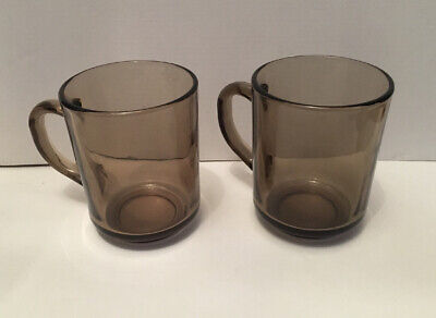 Vintage Arcoroc France Smoked Glass Cup /mug X 2