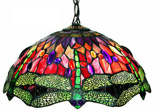 Tiffany style chandelier ebay chandelier hanging lamp tiffany style green dragonfly w red stained glass shade aloadofball Gallery