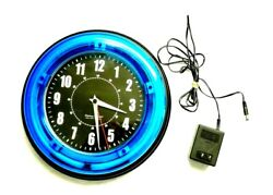 Sterling & Noble 11 in. Blue Neon Wall Clock Includes AC Adapter Cord Analog