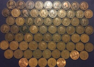 71 Coin Complete 1896-1967 Halfpenny UK Date Run Collection United Kingdom 1/2