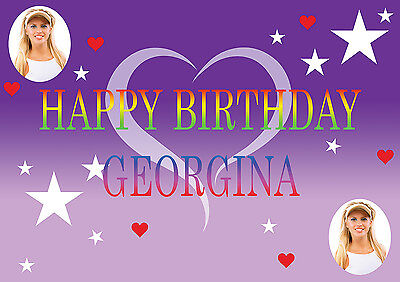 LARGE PERSONALISED POSTER BIRTHDAY BANNER WITH PHOTO ANY TEXT NAME BESPOKE