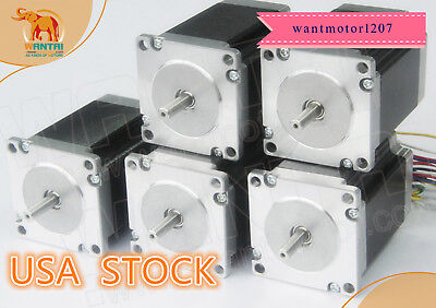 Ship From Us Wantai 5pcs Nema23 Stepper Motor Dual Shaft 425oz 3a 115mm 1.8