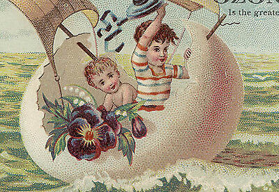 1880's OZONE SOAP 4 MATCHING TRADE CARDS, CHILDREN LG EGG BOATS,*ON SALE * TC286