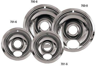 8 Chrome Reflector Pan (Drip Pans Reflector Bowl 4pc Set 6 and 8 Frigidaire Whirlpool Stove Range)